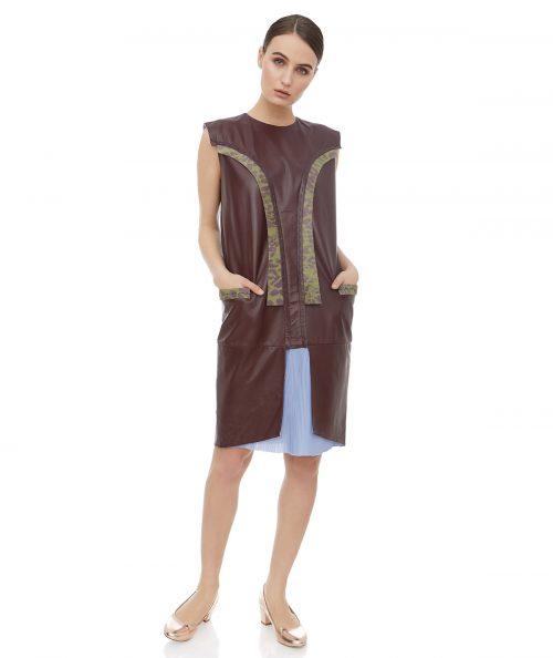 Leather midi sleeveless dress